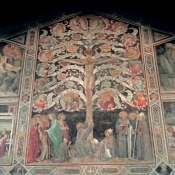 48 Taddeo Gaddi - Last Supper, Tree of Life and Four Miracle Scenes - c. 1360 - Fresco